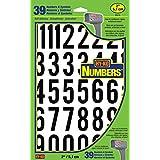 """Hy-Ko Products Números y letras de vinilo autoadhesivas, Números de 5 cm (2""""), 2"""" High, Negro/Blanco"""
