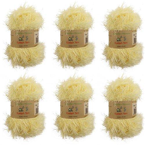 BambooMN JubileeYarn 50g Eyelash Ruffle Fur Yarn, 6 Skeins Summer - Eyelash Yarn Patterns