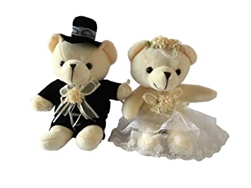Peluche Novia y novio osos juguetes Set para boda decoración Boda coche de boda regalos