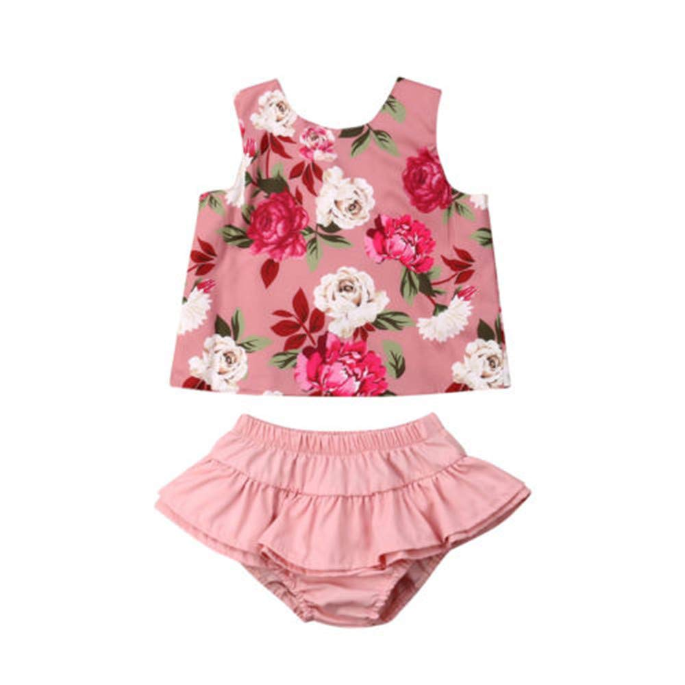 Wang-RX Summer Toddler Kids Baby Girl Cotton Ruffles Tops Florales ...