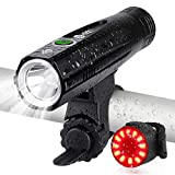 Te-Rich Ultra Bright Bike Lights Rechargeable 800 Lumens Headlight and Taillight Set, LED Bicycle Lights Front and Back, Quick Release Safety Lamp Cycling Accessories for Road/Mountain/City Bikes