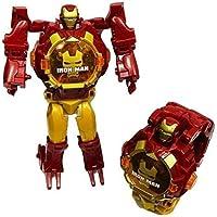 Plutofit Avengers Super Hero Transformer Robot Toy Convert into Digital Wrist Watch for Kids, Avengers Robot Deformation Watch (Iron Man)