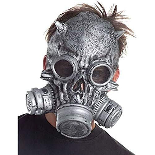Steampunk Silver Gas Mask Scary Halloween Mask Industrial Biohazard Costume Cosplay Prop -