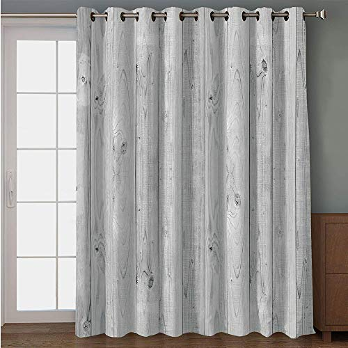 iPrint Blackout Patio Door Curtain,Grey,Picture of Smooth Oak Wood Texture in Old Fashion Retro Style Horizontal Nature Design Print Decorative,Gray,for Sliding & Patio Doors, 102