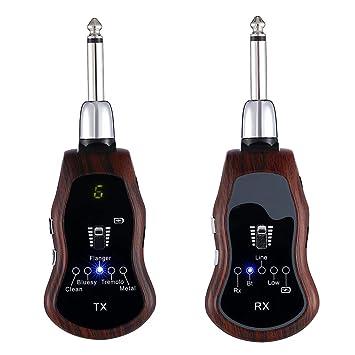 Blue-Yan Sistema de Guitarra inalámbrico Recargable con múltiples Efectos de Sonido, Receptor de transmisor de Audio para Guitarra de 10 Canales: Amazon.es: ...