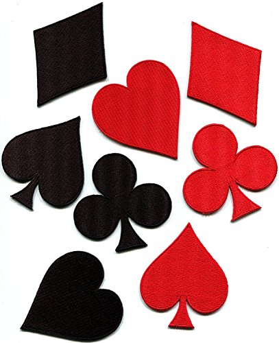 Lot of 8 playing cards black/red suit diamonds spades poker Las Vegas gaming embroidered appliques iron-on patches - Card Patch