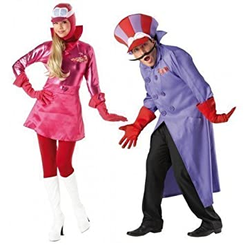 Couples Fancy Dress Matching Wacky Races Mens Dick Dastardly U0026 Ladies  Penelope Pitstop Halloween Costumes Outfits