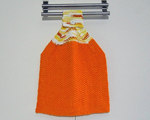 Hanging Kitchen Towel, Hand Knit in Orange, 100% Cotton Hand Towel ()