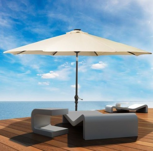 Linen Beige 10 Medium - Patio Furniture-Patio Umbrella-This Is Premium 10'Patio Solar Umbrella LED Patio Market Steel Tilt With Crank -Color BEIGE-Umbrellas especially designed to keep you cool and more comfortable than a traditional umbrella-Guaranteed!