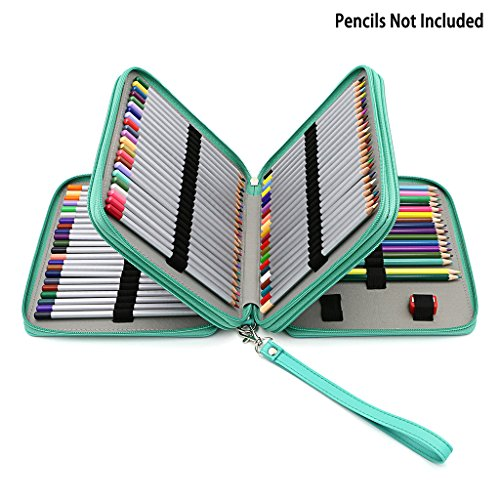 BTSKY Deluxe PU Leather Pencil Case For Colored Pencils - 120 Slot Pencil Holder (Green) (120 Case Holds Pencil)