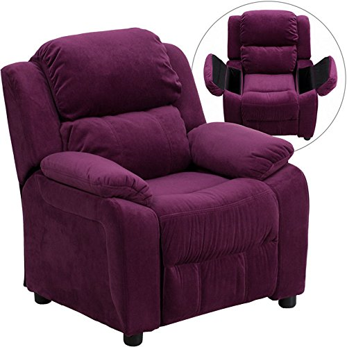 Eight24hours Deluxe Padded Contemporary Purple Microfiber Kids Recliner, Storage Arms