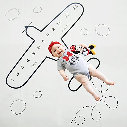 Monthly Baby Milestone Blanket Personalized Photography Photo Props Shoots Backdrop for Newborn, Infant, Boys & Girls, Baby Shower Gifts (Plane) by Hetekell