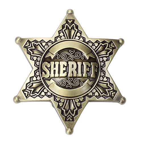 Pewter Seriff Cop Star Badge Belt Buckle Vintage Men's Fashion Accessories (Bronze)