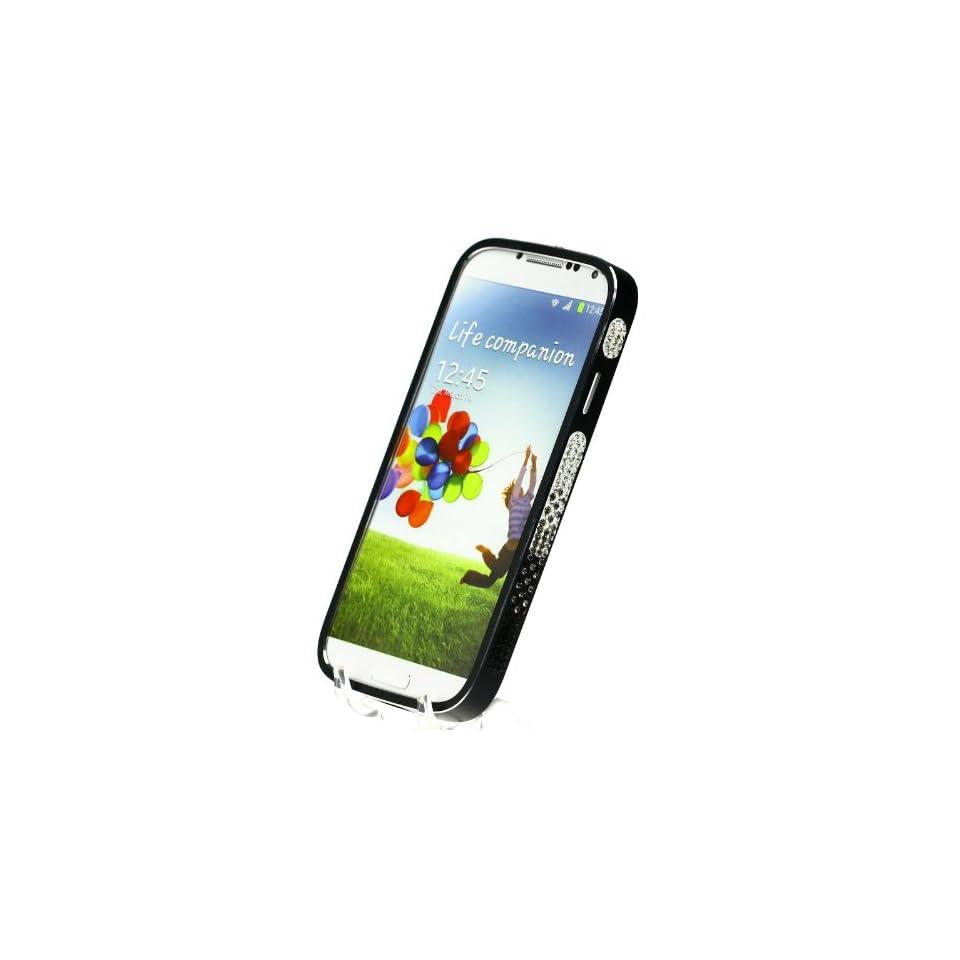 Metal Diamond Multi Color Crystal Bling Aluminum Bumper Black Hard Case Cover for Samsung Galaxy S4