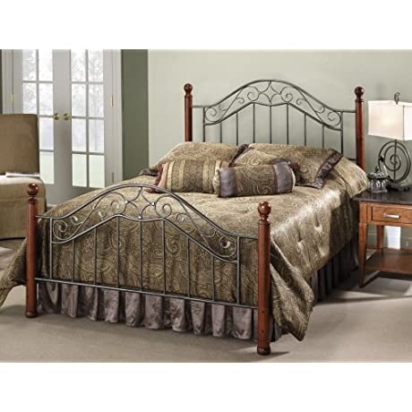 Hillsdale Furniture 1392BQR Martino Bed Set With Rails Queen Smoke Silver