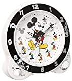 Seiko clock character alarm clock Mickey Mouse plastic frame (white pearl paint) FD461W