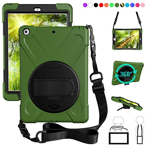 ZenRich New iPad 9.7 2017 2018 Case,360 Degree Rotatable with Kickstand,Hand Strap and Shoulder Strap case, 3 Layer Hybrid Heavy Duty Shockproof case for iPad 9.7 5th/6th Generation (Green) (Difference Between The Ipad Mini 3 And 4)