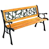 Beautiful Patio Garden Bench Roses pattern Sturdy And Comfortable Chair Bench Cast Iron Hardwood Park