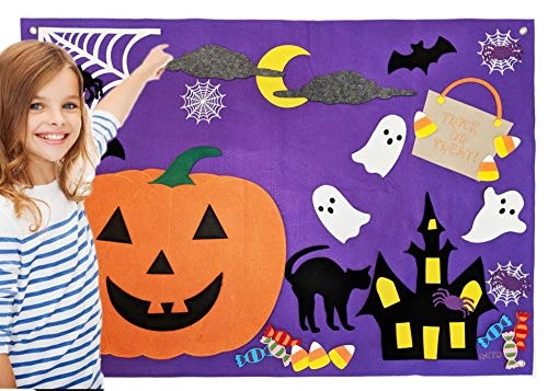 Halloween Wall Felt Pumpkin Jack O' Lantern Haunted House Flannel Board Fall Decoration Quiet Learning Activity Craft Kit for Kids Giant Fall Autumn Interactive Decor