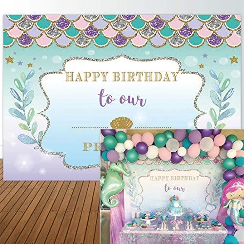 Allenjoy 7x5ft Under The Sea Little Mermaid Backdrop Purple Pink Mermaid Scales Glare Glitter Ocean Nautical Birthday Party Banner Background]()