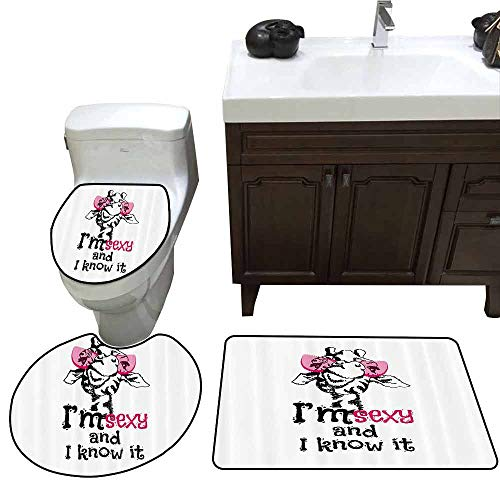 3 Piece Toilet lid Cover mat Set Giraffe Funny Animal in Pink Glasses with Quote I am Sexy and I Know it Fashion Customized Rug Set Pink Black White