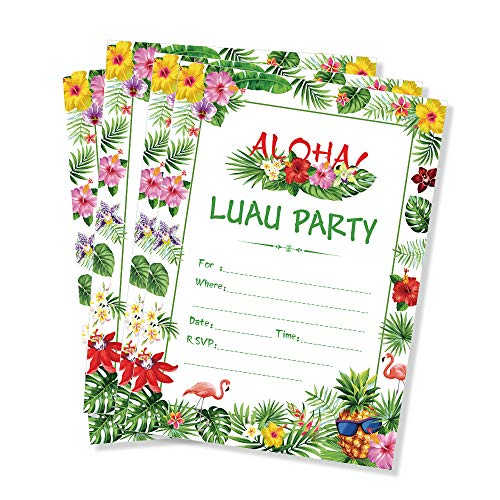 CC HOME Tropical Flowers Pineapple Aloha Hawaiian Luau Party Invitations with Envelopes (20 Count),Summer Tropical Hawaiian Luau Fill in Invites for Tiki Hawaiian Luau Summer Swim Pool Party ,Baby Shower ,Birthday Party Decorations Supplies