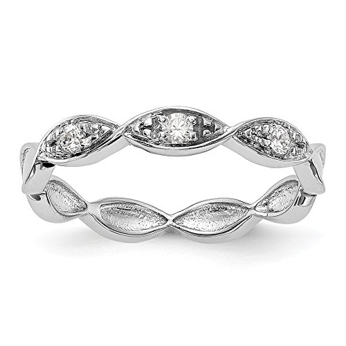 KIOKORI 14K White Gold Ladies 3-Stone Diamond Marquise Eternity Style Band 1/10-Carat tw ~ Ring Size 7 1/4 ~ by Roy Rose Jewelry