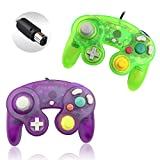 Reiso 2 Packs NGC Controllers Classic Wired Controller for Wii Gamecube(Clear Purple and Moss Green)