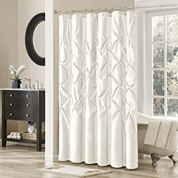 Madison Park Laurel White Shower Curtain Solid Transitional Curtains For Bathroom 72 X Cream