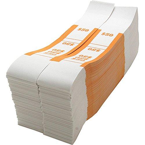 Sparco BS50WK Bill Strap, 50, 1000/PK, White/Orange