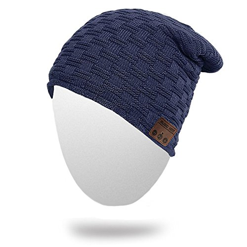 Momoday Wireless Beanie Knitted Winter Warm Music Unisex Hat Cap with Headphone Microphone for Hands Free Talking Winter Sports Fitness Gym Jogging Camping (NavyBlue1)