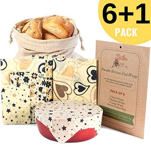 - Reusable Beeswax Food Storage Wrap - Set of 6 - Sustainable, Super Cling, Non-Plastic Alternative to Bowl Covers - Waxed Cotton Cloth for Sandwich Wrapping - 2L, 2M, 2S Wax Wraps, 1 Cotton Produce Bag