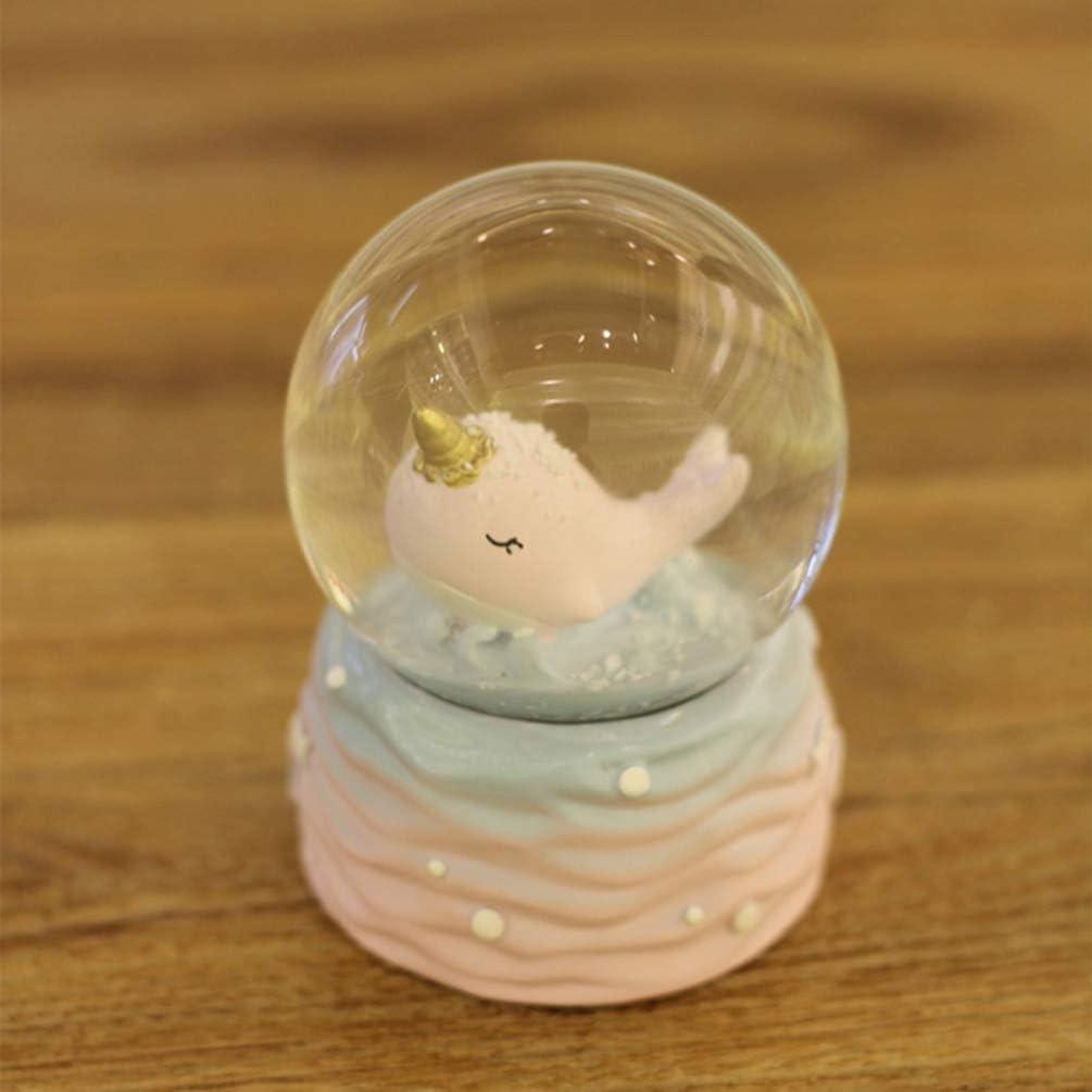 Amosfun Whale Glass Ball Resin Glass Snow Globe Desktop Miniature Whale Decor Water Globe Table Top Figurine for Friends Girls Kids Gift