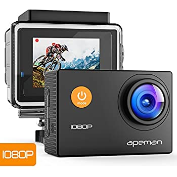 【Upgraded】APEMAN Action Camera 1080P Full HD Waterproof Sport Camera 30m Underwater Camcorder with 170° Wide Angle and Mounting Accessory Kits
