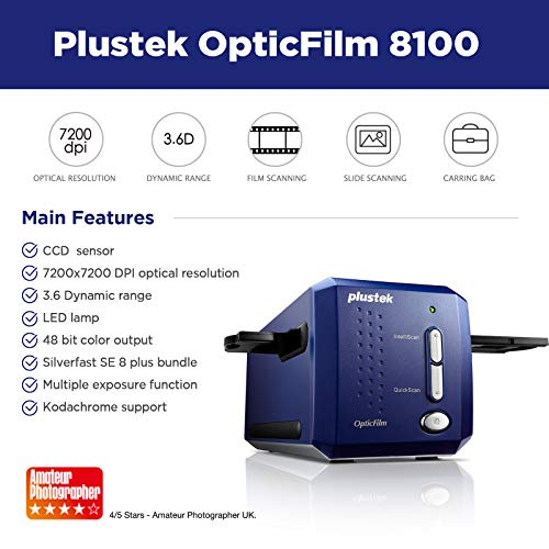 Plustek OpticFilm 8100-35mm Negative Film/Slide Scanner with