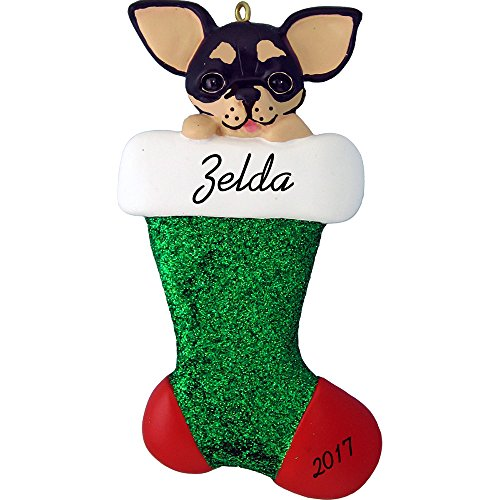 Dog in Stocking Personalized Christmas Ornament (Black Chihuahua) - Resin - Handpainted - 4