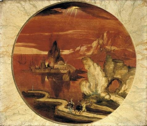 Polyster Canvas ,the Vivid Art Decorative Canvas Prints Of Oil Painting 'Joachim Patinir - Sodom And Gomorrah On Fire, 16th Century', 12x14 Inch / 30x36 Cm Is Best For Hallway Decor And Home Decoration And Gifts