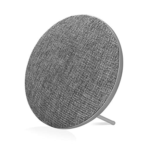 Portable Wireless Bluetooth Speaker with High Sound Quality,Bookshelf Desktop Fabric Speakers, Loud Volume,Rich Bass,Microphone,Hands-Free Calling,AUX Input,Suitable for Indoor Outdoor Grey