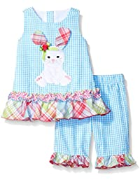 Baby Girls Seersucker Playwear Set With Applique
