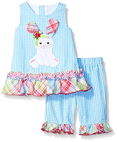 Aqua Seersucker - Bonnie Baby Girls' Bunny Appliqued Seersucker Playwear Set, Aqua, 24 m