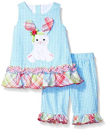 Bonnie Baby Baby Girls' Bunny Appliqued Seersucker Playwear Set, Aqua, 18 m (Appliqued Bunny)