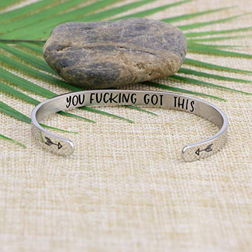 Joycuff Inspirational Bracelets for Women Mom Personalized Gift for Her Engraved Mantra Cuff Bangle Crown Birthday…