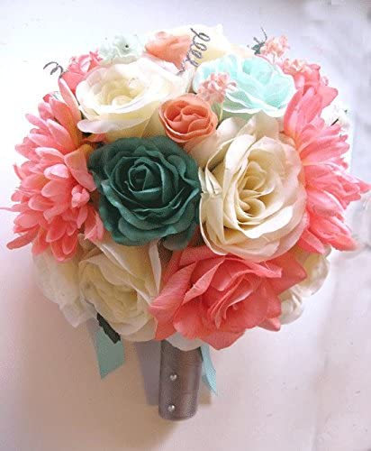 Amazon Com Roses And Dreams Weddings 17 Pc Wedding Bouquet Bridal Silk Flower Coral Teal Green Mint Gray Peach Silver Home Kitchen