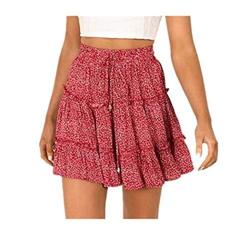 Women Summer Casual Bohe High Waist Ruffled Floral Print Beach Short Skirt