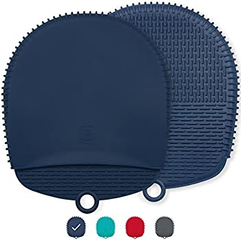 The Ultimate Silicone Pot Holders / Oven Mitts - Unique Design Makes Them Safe, Non-Slip & Flexible for the Highest Protection & Performance - Heat Resistant Up To 500°F (Navy Blue, 1 Pair)