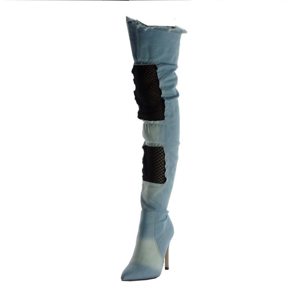 Angkorly Chaussure Mode Cuissarde Talon Botte cm Mode Souple Cavalier Stiletto Femme Résille Effiloché Talon Haut Aiguille 11 cm Bleu Clair dafce49 - piero.space