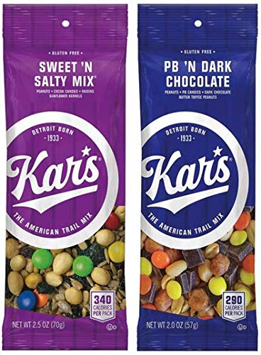 Kar's Nuts Variety Pack Trail Mix Snacks - Sweet 'N Salty Mix, Peanut Butter 'N Dark Chocolate 2.5 and 2 oz Single Serve Bags (Pack of 24)