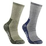 Men's Wool Hiking Socks - YUEDGE 2 Pairs Cushioned Merino Wool Socks Outdoor Sports Multi Performance Athletic Socks(L)