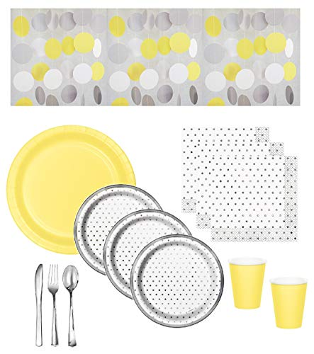 Yellow And Gray Paper Plates (Gender Neutral Baby Shower Supplies - Gray Dot Plates & Napkins With Yellow Plates & Cups, Coordinating Hanging String Decorations & Shiny Silver Premium Quality Plasticware - Serves 16)