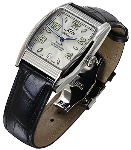 Xezo Incognito Men's 10 ATM Water Resistant Tonneau Watch. 9015 Miyota Automatic Movement. Luxurious Retro Style. X-Large Leather Wristband